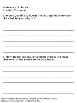 FREE Reading Response Form for Books Related to Nature and Animals