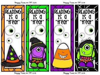 """FREE """"Reading is a Treat"""" HALLOWEEN BOOKMARKS"""