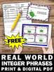 FREE Real World Math Integer Task Cards 6th Grade Math Review Games