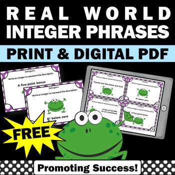 FREE Real World Integers Task Cards 6th Grade Math Review Games