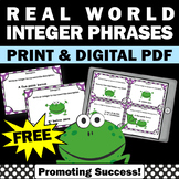 FREE Real World Integers Task Cards for 6th Grade Integer Games & Activities