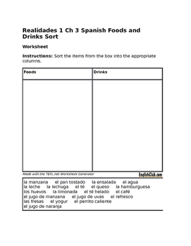 FREE Realidades 1 Ch 3a 3b Foods and Drinks Sort
