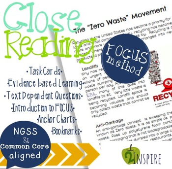 FREE Recycling Close Reading Evidence and Text-Dependent Packet