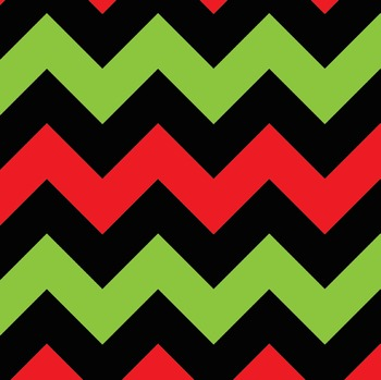 Red Green Black Christmas Chevron Alphabet Letters, Numbers and Symbols