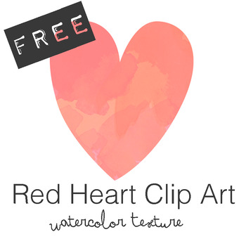 FREE Red Watercolor Heart Clip Art