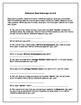 Reference Book Scavenger Hunts