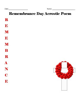 FREE Remembrance Day Poem Templates