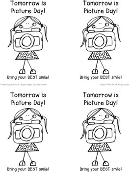 FREE Reminder for Picture Day ~  Sample of the Quick Notes Set