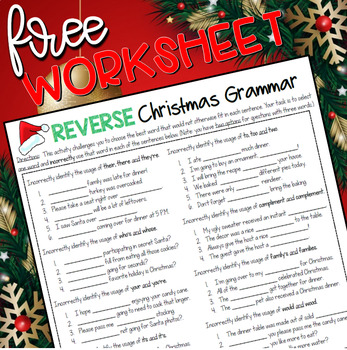 Free Reverse Christmas Grammar Worksheet By The Classroom Sparrow