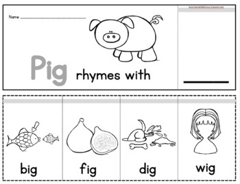 FREE Rhyming Flip books - Literacy Center - Worksheets