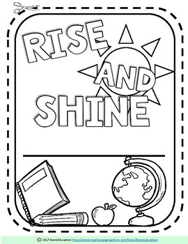 EDITABLE Rise and Shine Morning Work Notebook Cover