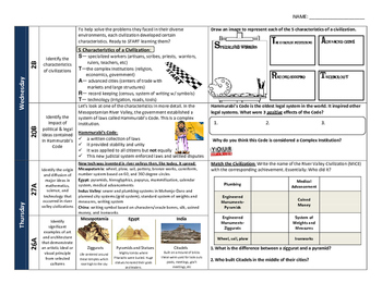 FREE River Valley Civilizations World History Homework/ Warm-Up Sheet