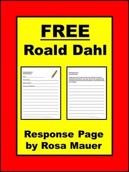 FREE Roald Dahl Reading Response Worksheet