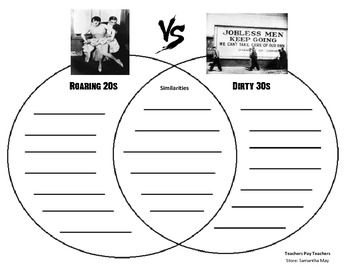 {FREE} Roaring 20s vs. Dirty 30s (Graphic Organizer - Venn Diagram)