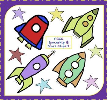 FREE Spaceship Clipart / Rocketship Clipart / Stars Clipart (FREE Clipart)
