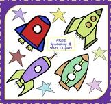 FREE Spaceship Clipart / Rocketship Clipart / Stars Clipar