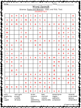 FREE Rocks and Minerals Word Search