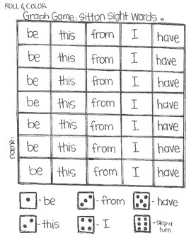 **FREE** Roll & Color-  Graph Games:  Sitton Sight Words SAMPLE
