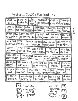 ***FREE*** Roll & Color: Punctuation