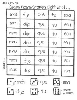 *FREE* Roll & Color: Spanish Sight Words