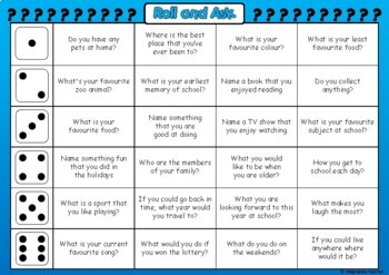 FREE Roll and Ask - Back to School Game
