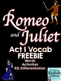 FREE Romeo and Juliet Act I Vocabulary Pack
