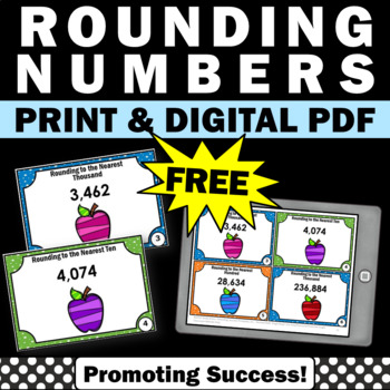 FREE Rounding Numbers Task Cards Math Place Value Games & Activities