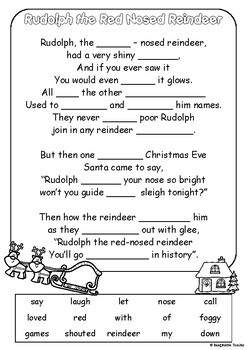 FREE Rudolph The Red Nosed Reindeer Fill in the Blanks by Imaginative Teacher