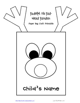 FREE Rudolph/Reindeer Paper Bag Template and Writing Project