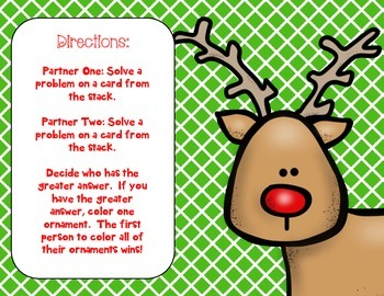 FREE Rudolph's Race Math Facts Game