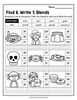 FREE S Blends Worksheets, R Blends Activities