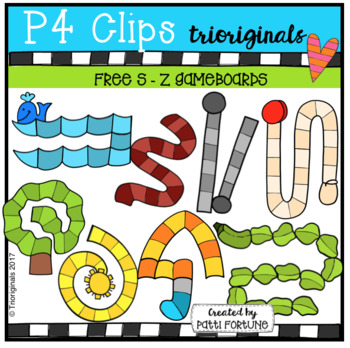 FREE S-Z Game Boards (P4 Clips Trioriginals Clip Art)