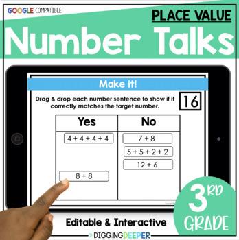 FREE SAMPLE Digital Number Talks 3rd Grade Place Value Distance Learning