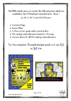 FREE SAMPLE - 40 Reading Comprehensions Using Lyrics Book 1