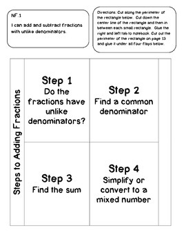 FREE SAMPLE: 5th Grade Interactive Notebook-Numbers and Operations-Fractions