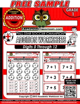 FREE SAMPLE Addition Soccer Theme Zero-Twelve Practice Worksheets