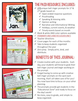 FREE SAMPLE Bell Ringer Journal for the Entire School Year: Grades 1-2