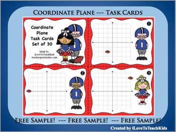 FREE SAMPLE Coordinate Grid Plane Set of 3 Task Cards Ordered Pairs