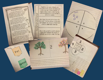 FREE SAMPLE- Fall Close Reading Passage - Interactive Notebook