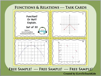 FREE SAMPLE Functions & Relations Set of 3 Task Cards Set