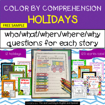 SAMPLE - Holidays Throughout the Year - Color by Comprehension Stories