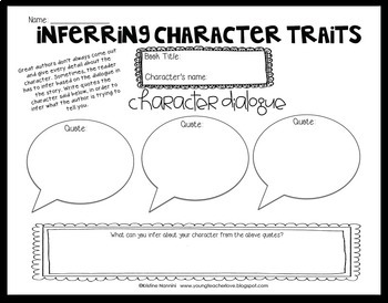 Worksheets Inferring Character Traits Worksheets Answer Key free sample inferring cha by kristine nannini teachers pay character traits organizer analyzing characters pack