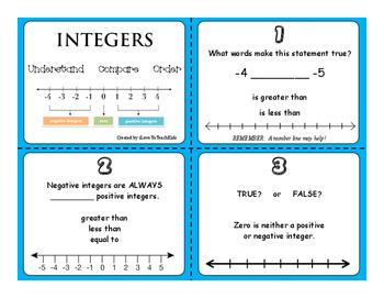 FREE SAMPLE Integers Set of 3 Task Cards Positive Negative