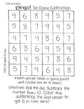 **FREE SAMPLE** Math Bingo: Subtraction (using 6 sided dice)