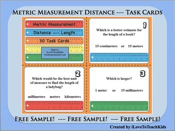 FREE SAMPLE Metric Measurement Units Length Distance Set of 3 Task Cards