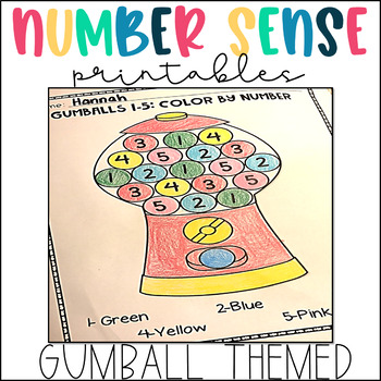 FREE SAMPLE Number Recognition and Counting 1-10: Gumball Math Activity Pack