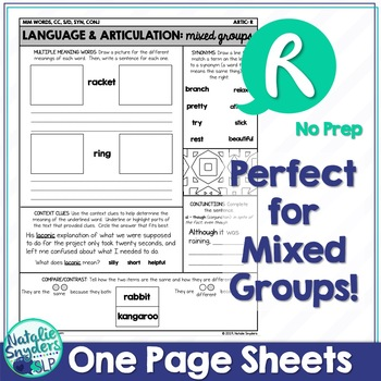 FREE SAMPLE: One Page Language and Articulation - for R