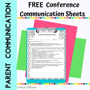 Parent Communication Conference Sheets Free Sample For K-2