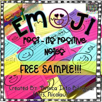 FREE SAMPLE Positive Post-Its Notes ENGL & SPAN