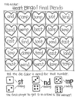*FREE SAMPLE* Roll & Color Heart Bingo: BLends and Consonants